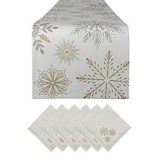 Design Imports Snowflake Sparkle Printed Table Set