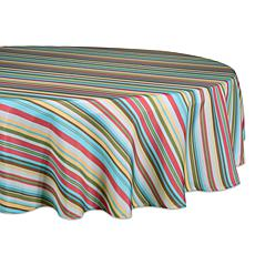 Design Imports Summer Stripe Outdoor Round Tablecloth w/Zipper - 52""