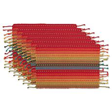 Design Imports Tonal Stripe with Fringe Placemat 6-pack
