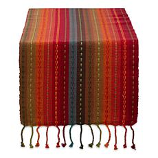 "Design Imports Tonal Stripe with Fringe Table Runner - 14"" x 108"""
