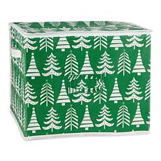 Design Imports Triple Christmas Tree Print Ornament Storage Bin, Large