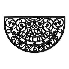 Design Imports Welcome Scroll Half Moon Rubber Doormat
