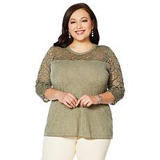 DG2 by Diane Gilman Acid-Wash Tee with Lace Sleeves