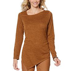 DG2 by Diane Gilman Asymmetric Brushed Knit Tunic Top
