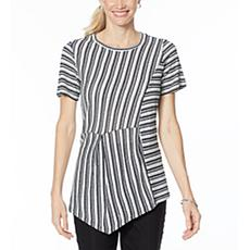 DG2 by Diane Gilman Asymmetric Striped Tee
