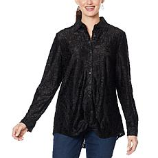 DG2 by Diane Gilman Burnout Velvet Twist-Hem Tunic