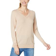 DG2 by Diane Gilman Cashmere-Blend V-Neck Sweater