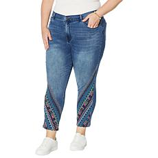 DG2 by Diane Gilman Classic Stretch Aztec Embroidered Skinny Crop Jean