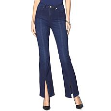 DG2 by Diane Gilman Classic Stretch Boot-Cut Jean with Slit - Basic