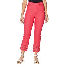 DG2 by Diane Gilman Classic Stretch Crochet Hem Cropped Jean - Fashion