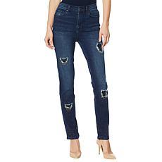 DG2 by Diane Gilman Classic Stretch Embellished Destructed Skinny Jean