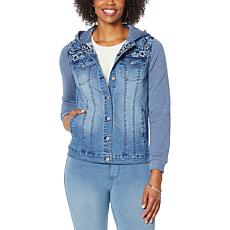 DG2 by Diane Gilman Classic Stretch Hooded Combo Denim Jacket