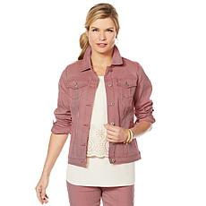 DG2 by Diane Gilman Classic Stretch Pinstripe Denim Jacket