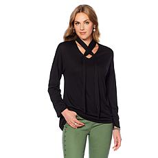 DG2 by Diane Gilman Crisscross Tie-Neck Top