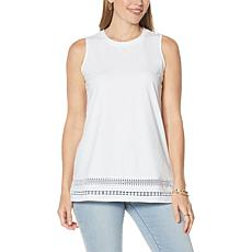 DG2 by Diane Gilman Crocheted Lace Trim Tank
