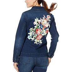 DG2 by Diane Gilman Denim Jacket with Floral Satin Appliqué
