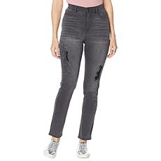 DG2 by Diane Gilman Destructed Multi-Stone Skinny Jean