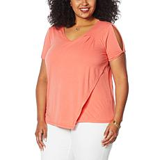 "DG2 by Diane Gilman ""DG Downtime"" Cold-Shoulder Asymmetric Tee"