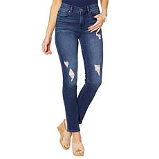 DG2 by Diane Gilman Distressed Striped Patch Skinny Jean - Basic