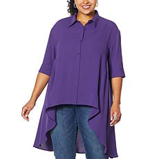 DG2 by Diane Gilman Drama Button Front Hi-Low Blouse