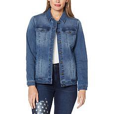 DG2 by Diane Gilman Eagle Embroidered Classic Stretch Denim Jacket
