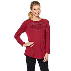 DG2 by Diane Gilman Embellished Brushed Knit Top