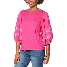 DG2 by Diane Gilman Embroidered Balloon-Sleeve Tee