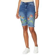 DG2 by Diane Gilman Embroidered Roll-Cuff Bermuda Short