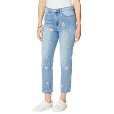 DG2 by Diane Gilman Embroidered Straight Cropped Jean