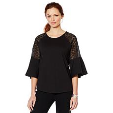 DG2 by Diane Gilman Eyelet Flutter Sleeve Knit Tee