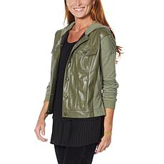 DG2 by Diane Gilman Faux Leather and French Terry Jacket