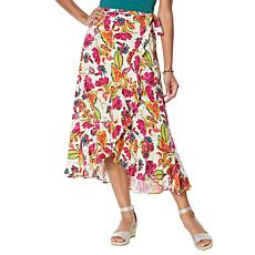 DG2 by Diane Gilman Faux Wrap Ruffle Printed Skirt