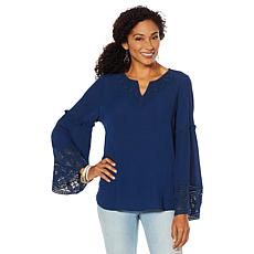 DG2 by Diane Gilman Flare-Sleeve Top with Crochet Trim
