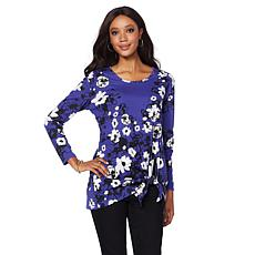 DG2 by Diane Gilman Floral Asymmetric Side-Tie Top