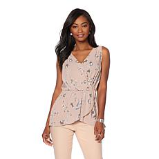 DG2 by Diane Gilman Floral-Print Sleeveless Tulip Top