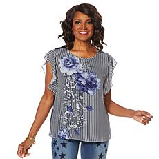DG2 by Diane Gilman Flutter-Sleeve Mixed Media Top