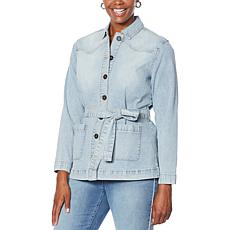 DG2 by Diane Gilman Herringbone Denim Belted Utility Jacket