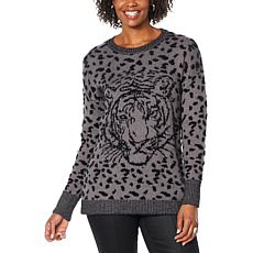 DG2 by Diane Gilman Jacquard Knit Animal Sweater