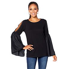 DG2 by Diane Gilman Lace Cold-Shoulder Bell-Sleeve Top