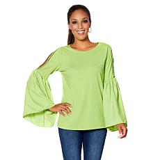 576efa0e8bc DG2 by Diane Gilman Lace Cold-Shoulder Bell-Sleeve Top ...