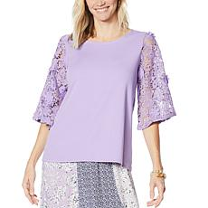 DG2 by Diane Gilman Lace-Sleeve Top