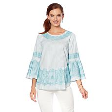 DG2 by Diane Gilman Lace Trim Bell-Sleeve Top