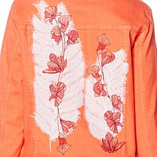 DG2 by Diane Gilman Leaf Embroidered Trucker Jacket