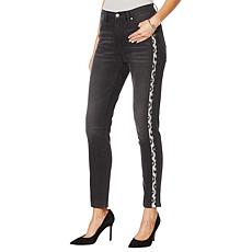 DG2 by Diane Gilman Leopard Sequin Stripe Skinny Jean-Black or Midtone