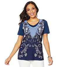 DG2 by Diane Gilman Mesh-Front Layered Tee