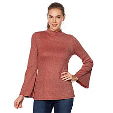 DG2 by Diane Gilman Metallic Bell-Sleeve Ribbed Turtleneck
