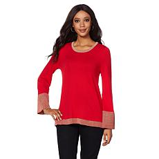 DG2 by Diane Gilman Metallic Bell-Sleeve Sweater