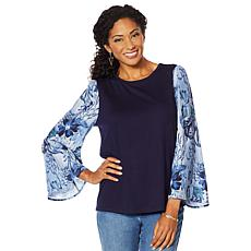 DG2 by Diane Gilman Mixed Media Printed-Sleeve Solid Top