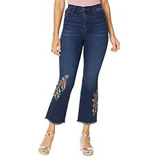 DG2 by Diane Gilman Neon Embroidered Kick Flare Crop Jean  - Basic