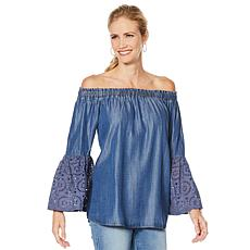 DG2 by Diane Gilman Off-the-Shoulder Eyelet-Sleeve Peasant Blouse